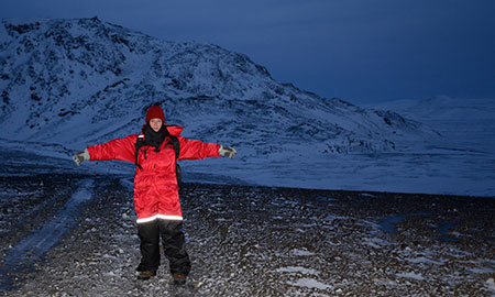 """On """"one of the greatest days of my life,"""" with only four hours of daylight, scientist Erica Massey conducted geological sampling and mapping at Helgafell ('Holy Mountain') glaciovolcanic ridge, SW Iceland."""