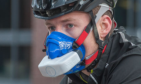 Image of research subject using a respirator for the the world's first Bluetooth oxygen-sensing device for endurance athletes.