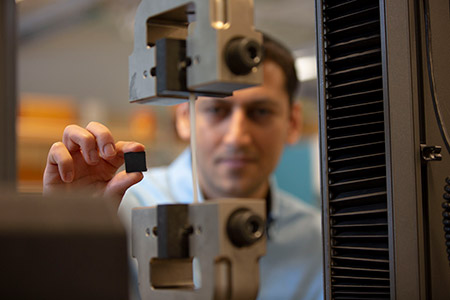 UBCO School of Engineering researcher Mohammad Arjmand examines the new polymer-based brake pad which could revolutionize braking systems in cars and trains.