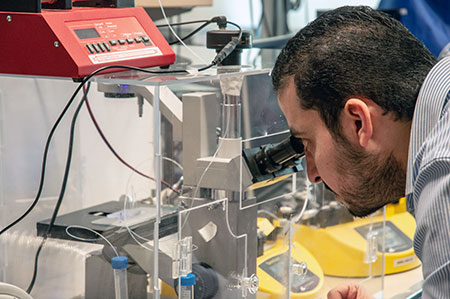 Doctoral student Mohamed Gamal uses a newly developed cell encapsulation device.