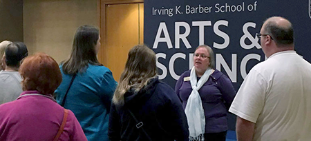 Trudy Kavanagh, associate dean of undergraduate recruitment, services, and success in the Barber School, answers questions at the UBC Welcomes You event in Toronto.