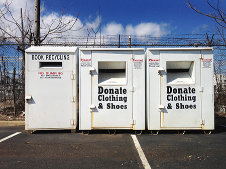 Book and clothing donation bins.
