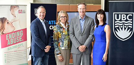 Announcing $1 million in funding Friday for Supporting Survivors of Abuse and Brain Injury through Research (SOAR) are, from left, Kelowna-Lake Country MP Stephen Fuhr, UBC Okanagan Deputy Vice-Chancellor and Principal Deborah Buszard, Professor of Health and Exercise Sciences Paul van Donkelaar and Kelowna Women's Shelter Executive Director Karen Mason.