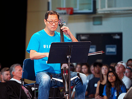 UBC President Santa Ono plays his cello as part of his welcome to the more than 2,300 new-to-UBCO students at Tuesday's Create celebration.