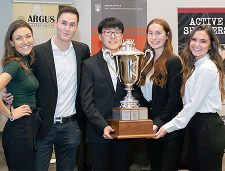Winners of this year's Faculty of Management Live Case Challenge (from left): Gabrielle Schroeder, Maulen Zairov, Jonathan Zhang, Breann Zilkey and Shaina Johnstone.