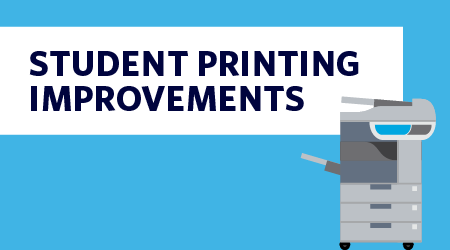 Improved student printing on campus graphic