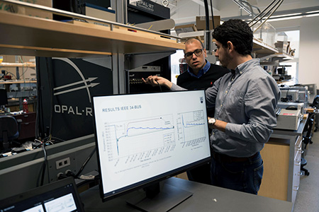 UBCO's Morad Abdelaziz and Yuri Rodrigues have been researching the impact microgrids would have on the distribution and conservation of electrical power.