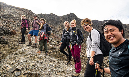 Taught by UBC sustainability professor Lael Parrott (far left) with Kluane Lake, Yukon, as their backdrop, the field course encourages students to critically evaluate how human-environment interactions change landscapes.