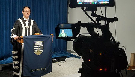 A behind the scenes peak at UBC President, Santa Ono's ceremony speech during the virtual ceremony dry run.