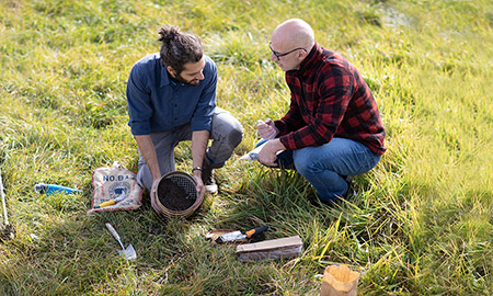 John Klironomos (right), biologist in the Irving K. Barber Faculty of Sciences is studying how to make plants more resilient to changes in the environment, and believes that fungi in the soil may play a central role.