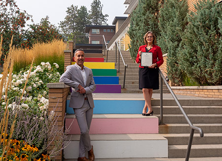 Kelowna Mayor Colin Basran and UBCO's Deputy Vice-Chancellor and Principal Lesley Cormack officially declared September 25 to 27 UBCO Homecoming weekend in the City of Kelowna.