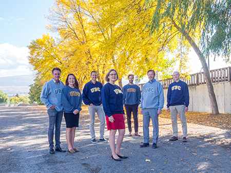Linda Stober, Ken Stober, Matt Hauge and Keith Brewster from the Stober Foundation along with David McAnerney and Dave Henwood from the Stober Group meet with UBC Okanagan Deputy Vice-Chancellor and Principal Lesley Cormack (centre).