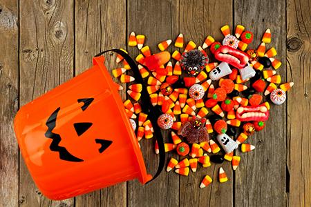 A jack o' lantern full of candy