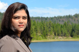 UBC PhD candidate Nilufar Islam, pictured at Kelowna's McKinley Reservoir, is studying the c