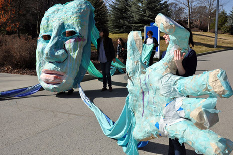 "A""water puppet"" made from papier-mache using recycled materials makes an appearance on UBC's Okanagan campus during last year's World Water Day."