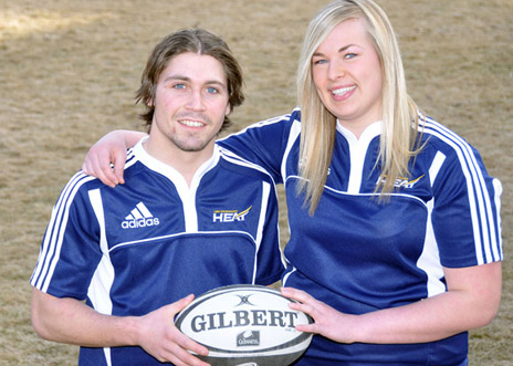 Second-year human kinetics student Judah Campbell and third-year nursing student Natalie Kloosterman are excited by the addition of rugby to the Heat varsity athletics program at UBC's Okanagan campus.